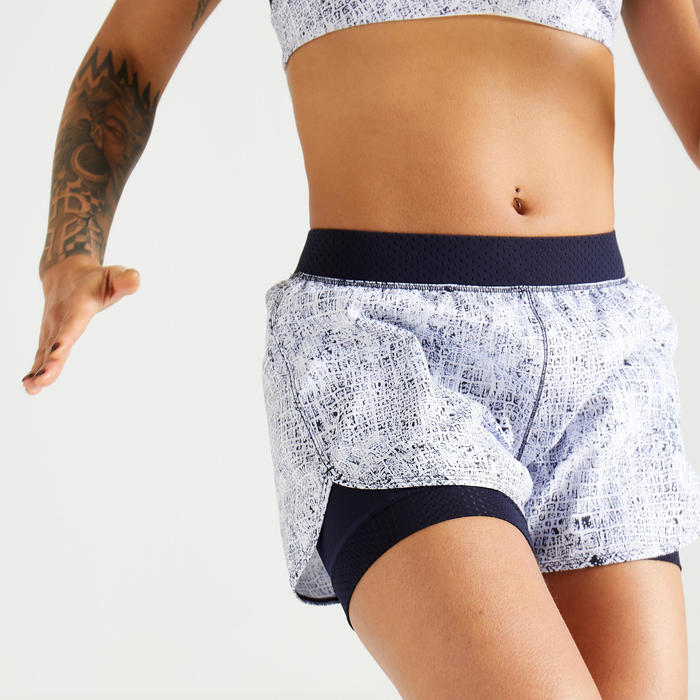 Short fitness cardio training femme blanc 900