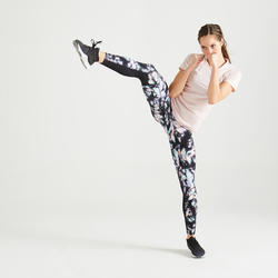 500 Women's Fitness Cardio Training Leggings - Black Print