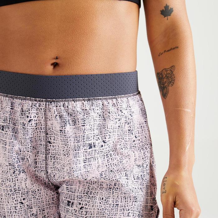 2-in-1 short voor cardiofitness dames 900 roze/grijs