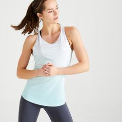 Débardeur fitness cardio training femme vert clair 500