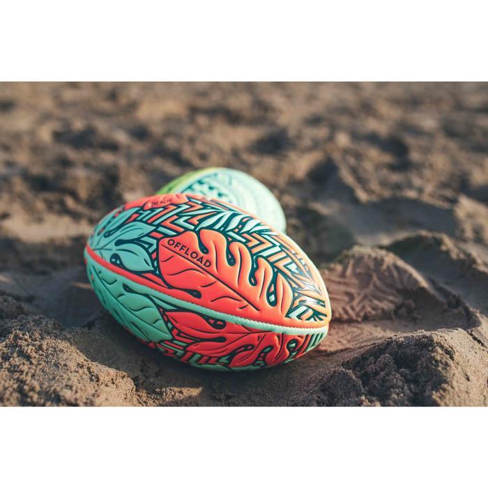 Ballon de rugby Beach R100 midi Tropical orange et vert