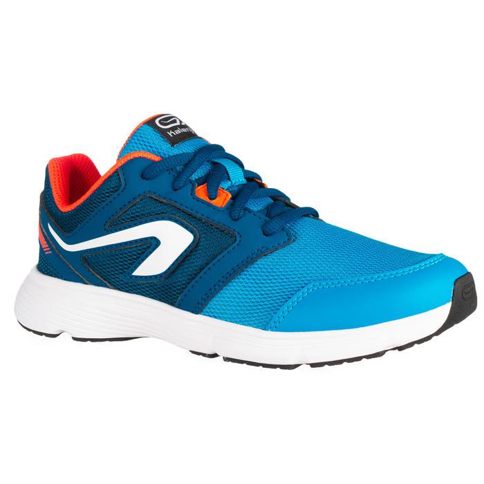 chaussures enfant d'athlétisme Run Support lacet turquoises et rouges fluo