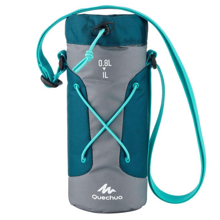 Housse isotherme pour gourde randonnée 0,75 à 1 litre gris/bleu