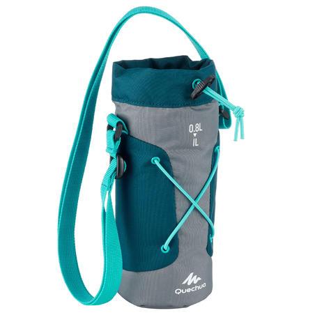 Pārgājienu pudeles termoapvalks, 0,75–1 litrs, pelēks/zils