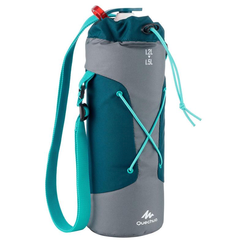 Housse isotherme pour gourde randonnée 1,2 à 1,5 litre gris/bleu