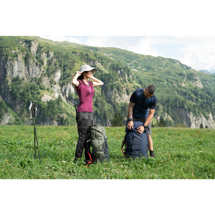 女款抗UV登山健行帽|TREK 500 -淺灰色