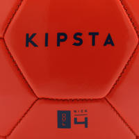 Ballon de football F100 taille 4 (enfants de 8 à 12 ans) rouge