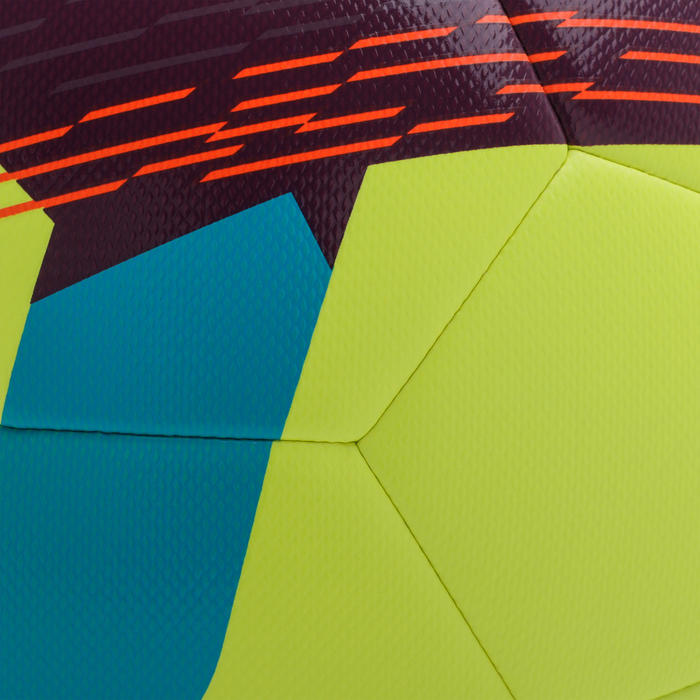 Voetbal F500 hybride maat 5 fluogeel