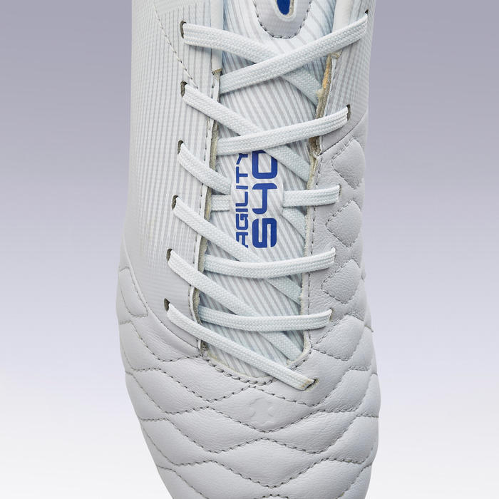 Adult Leather Mixed Ground Football Boots Agility 540 - Grey/Blue