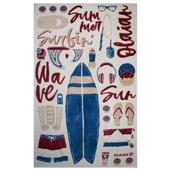 Handdoek Basic L Print zand 145 x 85 cm