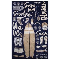 毛巾Basic L號 145 x 85 cm-印花圖示款藍色