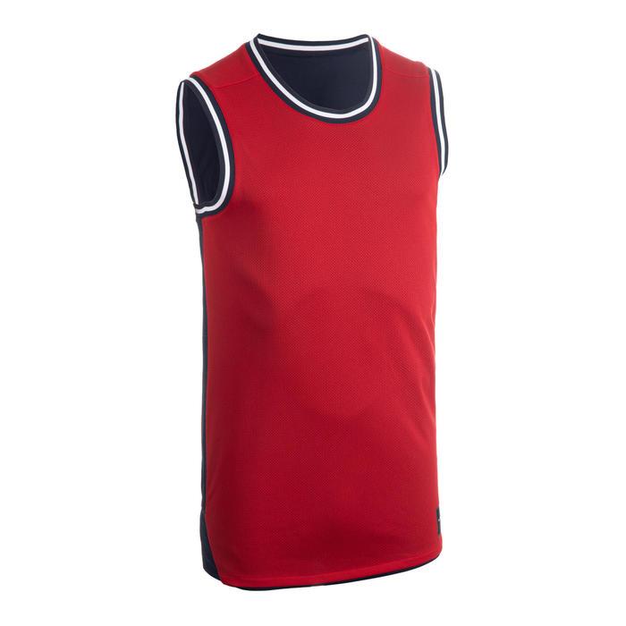 男款雙面籃球運動衫/背心T500R - 藍色/紅色