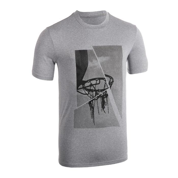 Basketbalshirt voor heren TS500 grijs met ringprint