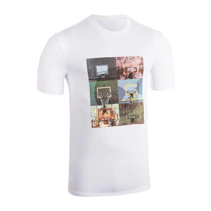 Basketbalshirt voor heren TS500 wit 6 foto's