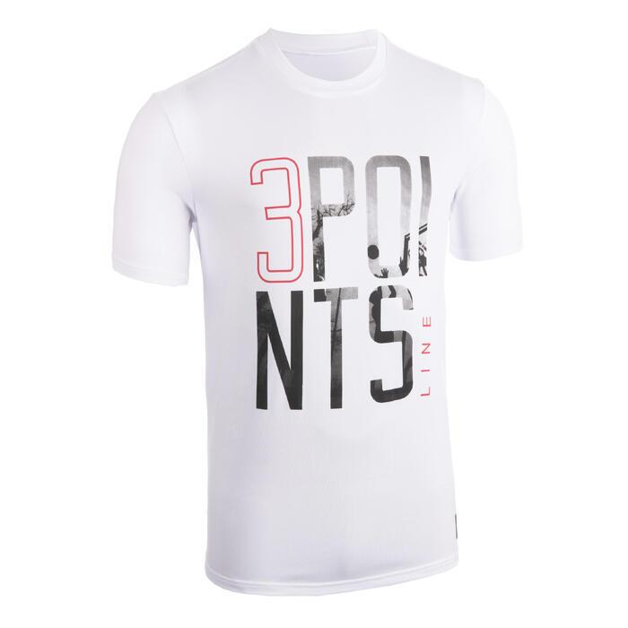 Basketbalshirt voor heren TS50 wit 3 POINTS