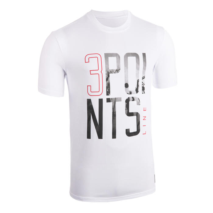 T-SHIRT / MAILLOT DE BASKETBALL HOMME TS500 BLANC 3POINTS