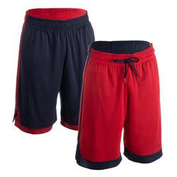 Reversible basketbalshort voor heren marineblauw/rood