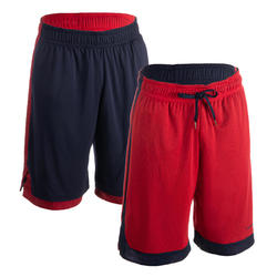 SHORT DE BASKETBALL REVERSIBLE HOMME BLEU MARINE / ROUGE GRENAT