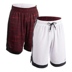 Men's Reversible Basketball Shorts - Grey/Burgundy