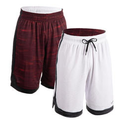 SHORT DE BASKETBALL REVERSIBLE HOMME GRIS / BORDEAUX
