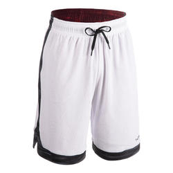 Reversible basketbalshort voor heren grijs/bordeaux