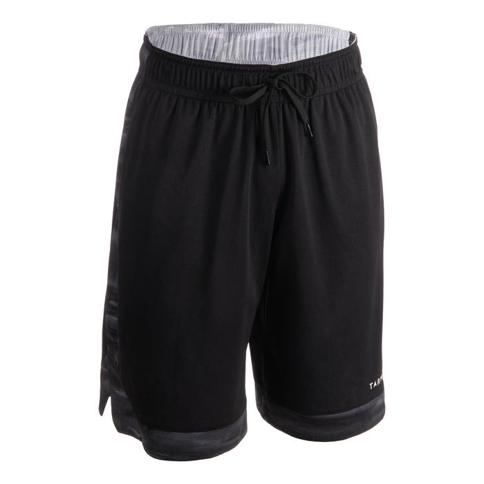 男款雙面籃球短褲-灰色/黑色