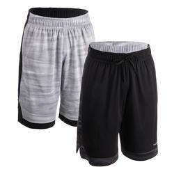 Basketballshorts wendbar SH500R Herren grau/schwarz