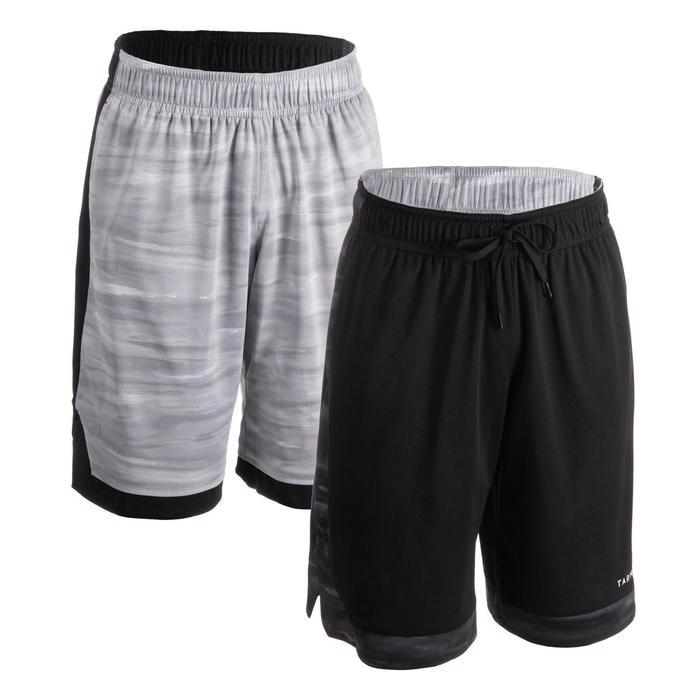 Reversible basketbalshort voor heren grijs/zwart