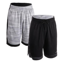 SHORT DE BASKETBALL REVERSIBLE HOMME GRIS / NOIR