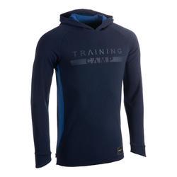 Shooting shirt met lange mouwen en capuchon marineblauw TS500LS H