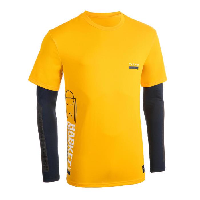 男款假兩件籃球T恤900-黃色