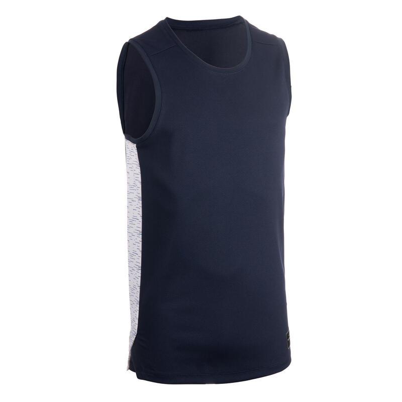 Mouwloos basketbalshirt voor heren T500 marineblauw