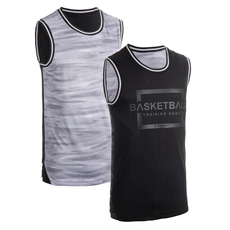 Tank Top/Jersey Basket Dua Sisi Pria T500R - Abu-Abu/Hitam
