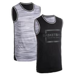 Reversible mouwloos basketbalshirt voor heren T500R grijs/zwart