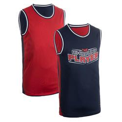 Reversible basketbaltank voor heren T500R blauw/rood