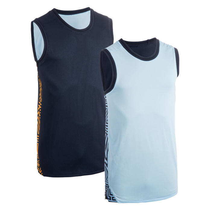 Men's Reversible Sleeveless Basketball Jersey T500R - Pastel Blue / Navy