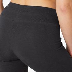 Legging sport taille haute Conf+ 500 femme en coton noir