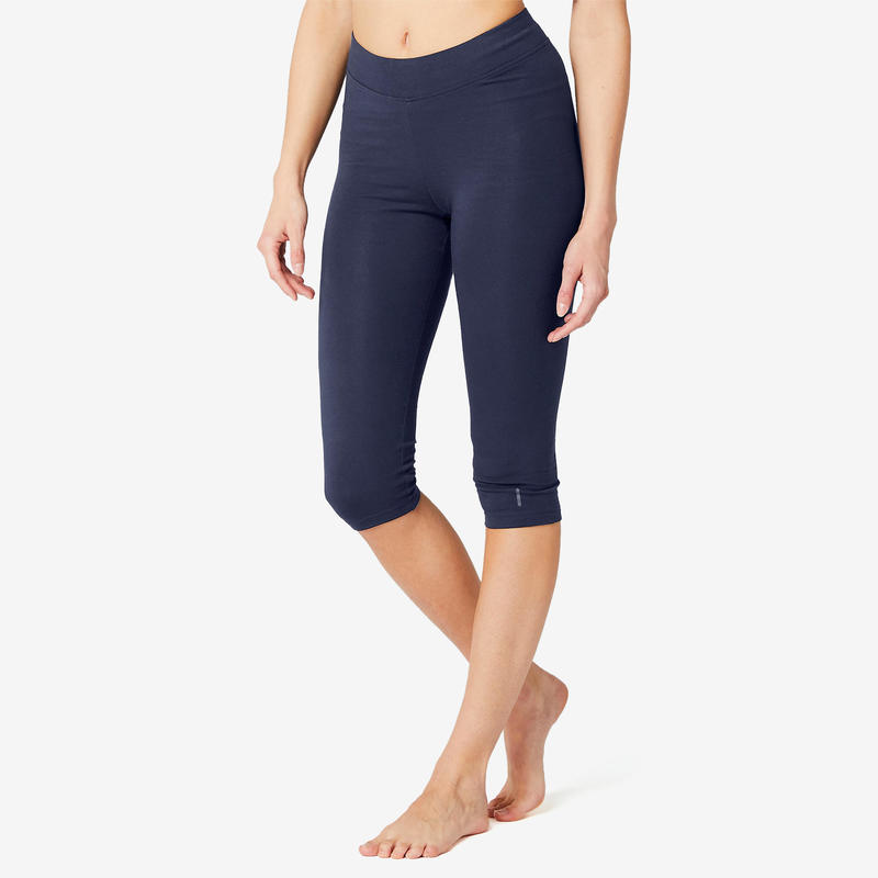 Slim-Fit Majority Cotton Fitness Cropped Bottoms Fit+ - Navy Blue