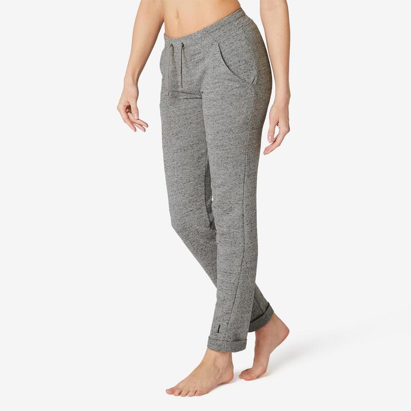 Pantaloni slim donna fitness 500 grigi