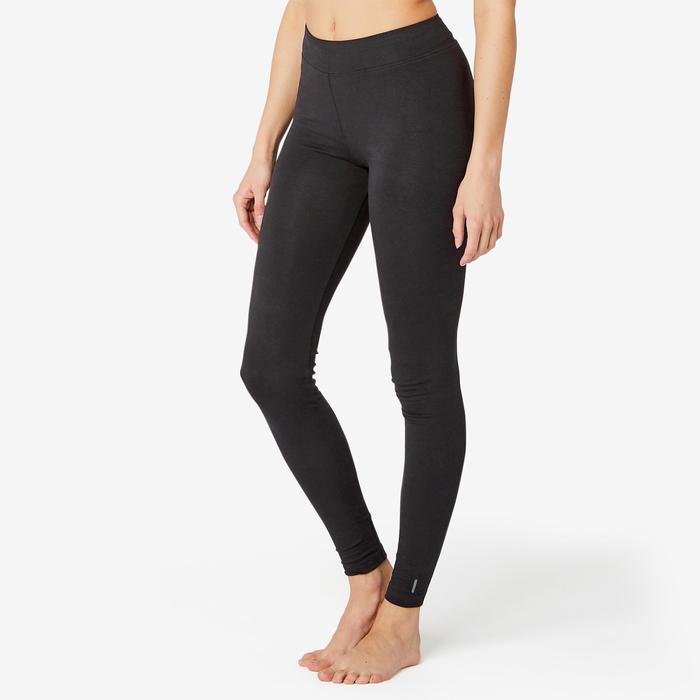 女款修身剪裁皮拉提斯與溫和健身長褲Fit+ 500 - 黑色