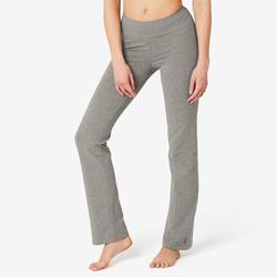 女款標準剪裁皮拉提斯與溫和健身運動長褲Fit+500 - 灰色
