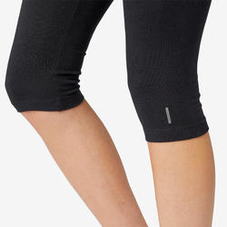 Kuitbroek voor pilates en lichte gym dames Fit+500 slim fit zwart