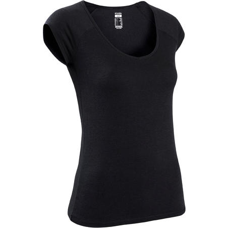 T-shirt sport pilates gym douce femme 500aj noir