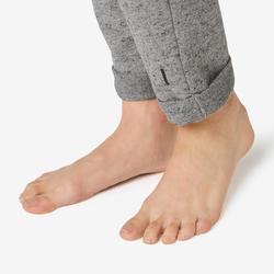 女款修身剪裁皮拉提斯與溫和健身長褲500 - 灰色