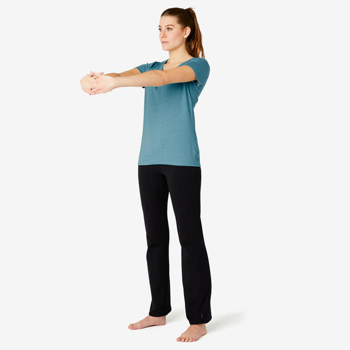 T-shirt Sport Pilates Gym Douce Femme 500 Regular Turquoise