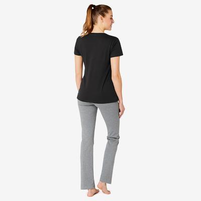 T-shirt Sport Pilates Gym Douce Femme 500 Regular Noir