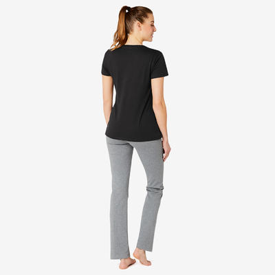 Women's Regular-Fit Pilates & Gentle Gym Sport T-Shirt 500 - Black