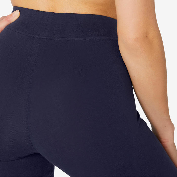 Pantalon Sport Pilates Gym douce Femme Fit+500 Regular Bleu Marine
