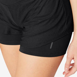 2-in-1-Shorts kurz 520 Gym & Pilates Damen schwarz
