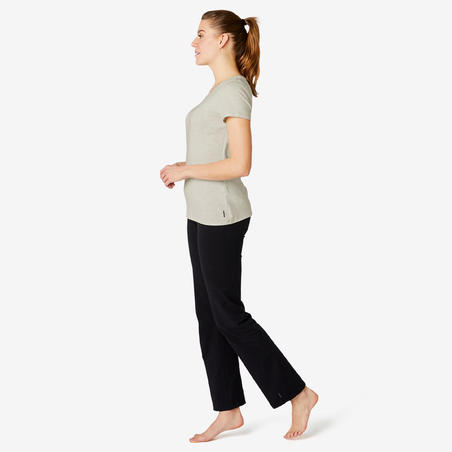 Stretchy Cotton Fitness T-Shirt - Mottled White